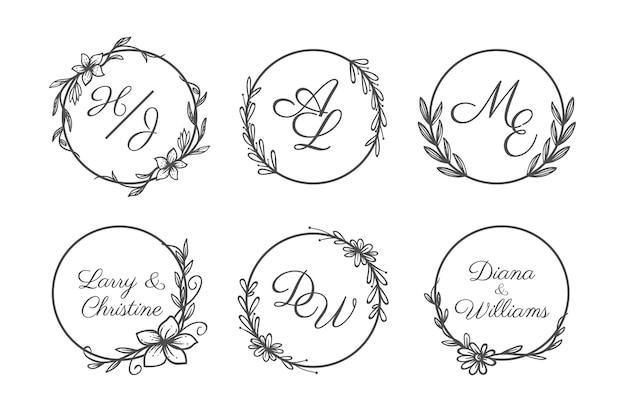 Ręcznie rysowane zestaw logo monogram ślubu