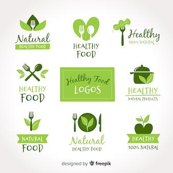 Ręcznie rysowane zestaw logo zdrowej żywności