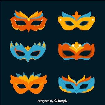Ręcznie rysowane zestaw maska karnawałowa