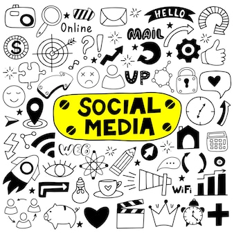 Ręcznie rysowane zestaw mediów społecznościowych.