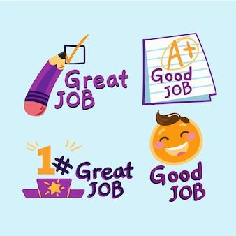 Ręcznie rysowane zestaw naklejek dobrej pracy