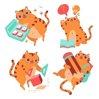 Ręcznie rysowane zestaw naklejek edukacyjnych dla kota bernie