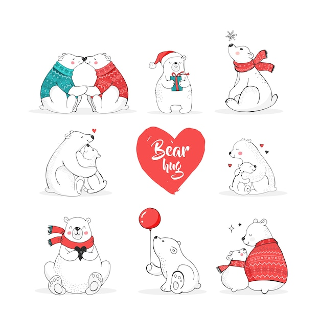 Ręcznie rysowane zestaw niedźwiedzia polarnego