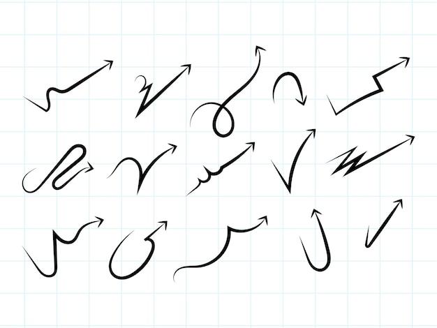 Ręcznie rysowane zestaw nowoczesnych strzałek