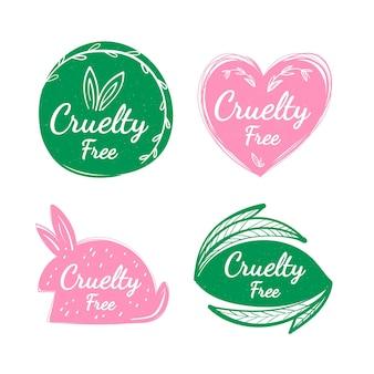 Ręcznie rysowane zestaw odznak cruelty free