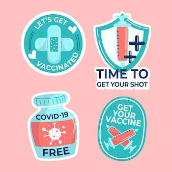 Ręcznie rysowane zestaw odznak kampanii szczepień