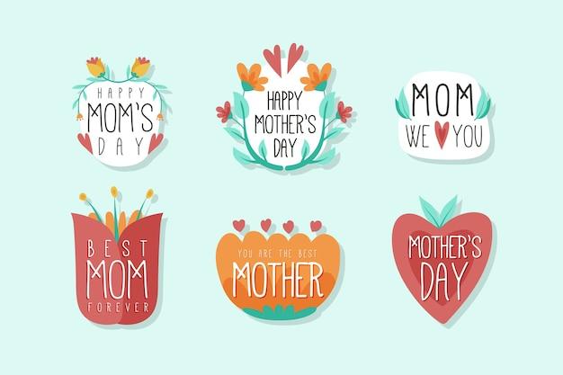 Ręcznie rysowane zestaw odznak na dzień matki