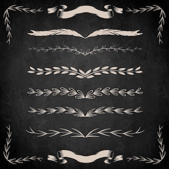Ręcznie rysowane zestaw ornamentów dzielnika liści w stylu vintage