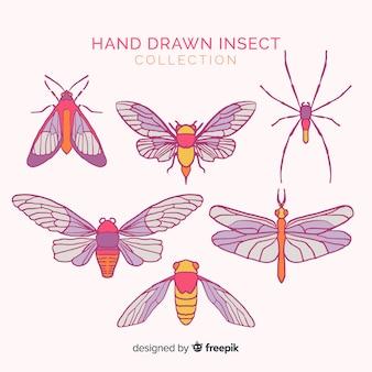 Ręcznie rysowane zestaw owadów skrzydlate