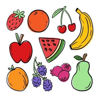 Ręcznie rysowane zestaw owoców