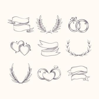 Ręcznie rysowane zestaw ozdób ślubnych