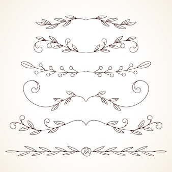 Ręcznie rysowane zestaw ozdobnych ramek obramowania elementów dekoracji strony