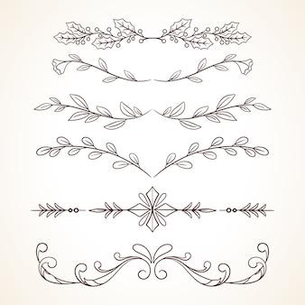 Ręcznie Rysowane Zestaw Ozdobnych Ramek Obramowania Elementów Dekoracji Strony Premium Wektorów