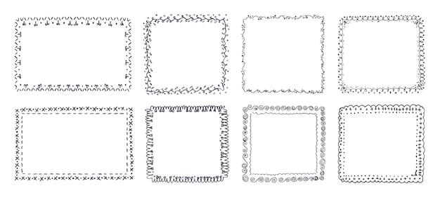 Ręcznie rysowane zestaw ozdobnych ramek