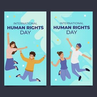 Ręcznie rysowane zestaw pionowych banerów płaski międzynarodowy dzień praw człowieka