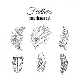 Ręcznie rysowane zestaw piór