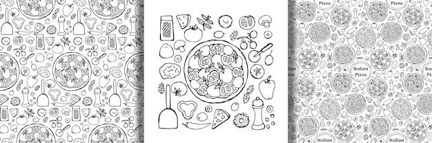 Ręcznie rysowane zestaw pizzy i bezszwowe wzory