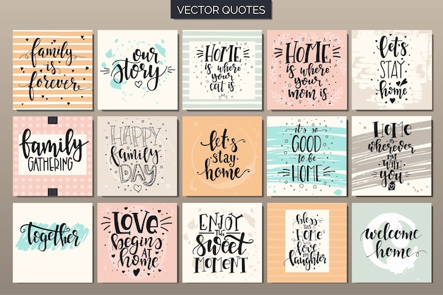 Ręcznie rysowane zestaw plakatów typografii. koncepcyjne zwroty odręczne dom i rodzina.