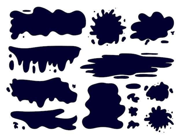 Ręcznie rysowane zestaw plam atramentu, farb o różnych kształtach. element projektu naklejek, etykiet, banerów, ikon. ilustracja wektorowa, imitacja kropli piór i pędzla.