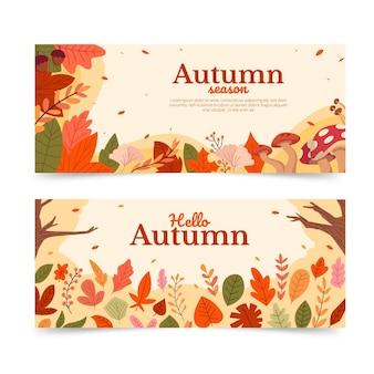 Ręcznie rysowane zestaw płaskich jesiennych poziomych banerów