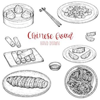 Ręcznie rysowane zestaw popularnych chińskich potraw, naszkicowanych na białym tle ilustracja posiłków.