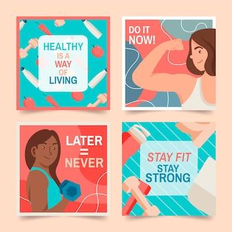 Ręcznie rysowane zestaw postów dotyczących zdrowia i kondycji