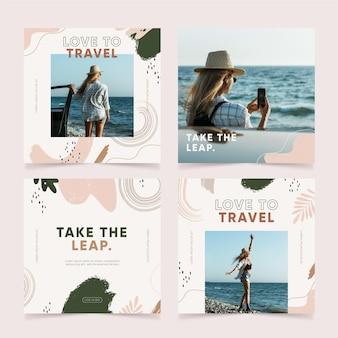 Ręcznie rysowane zestaw postów na instagramie z podróżami