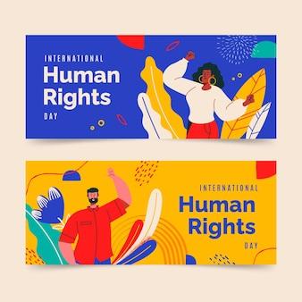 Ręcznie rysowane zestaw poziomych banerów międzynarodowego dnia praw człowieka