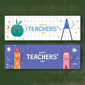 Ręcznie rysowane zestaw poziomych banerów na dzień nauczyciela