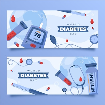 Ręcznie rysowane zestaw poziomych banerów na światowy dzień cukrzycy