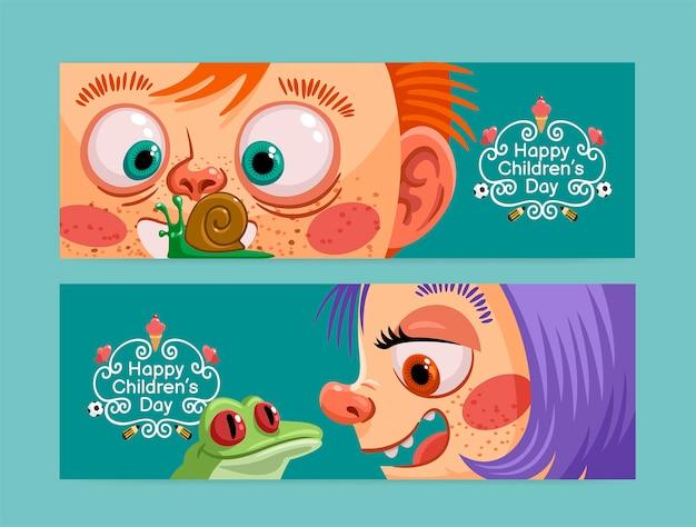 Ręcznie rysowane zestaw poziomych banerów na światowy dzień dziecka