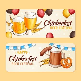 Ręcznie rysowane zestaw poziomych banerów oktoberfest