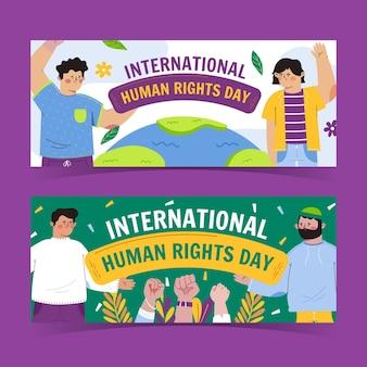 Ręcznie rysowane zestaw poziomych banerów płaski międzynarodowy dzień praw człowieka