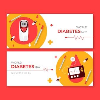 Ręcznie rysowane zestaw poziomych banerów płaski światowy dzień cukrzycy