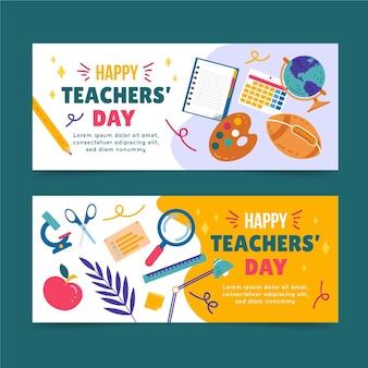 Ręcznie rysowane zestaw poziomych banerów płaskich nauczycieli