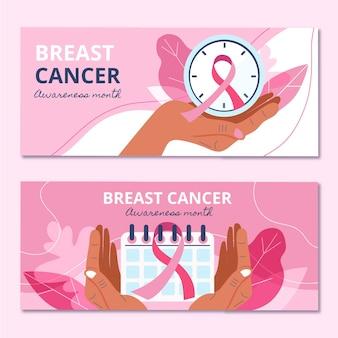 Ręcznie rysowane zestaw poziomych banerów płaskiego miesiąca świadomości raka piersi