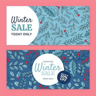 Ręcznie rysowane zestaw poziomych banerów sprzedaży zimowej