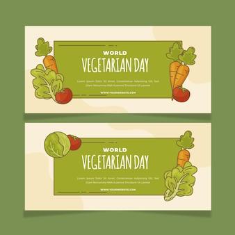 Ręcznie rysowane zestaw poziomych banerów światowego dnia wegetariańskiego