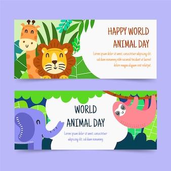 Ręcznie rysowane zestaw poziomych banerów światowego dnia zwierząt