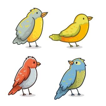 Ręcznie rysowane zestaw ptaków