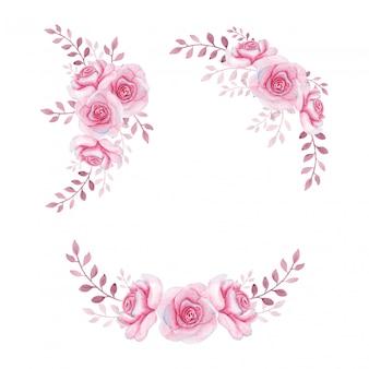 Ręcznie rysowane zestaw ramek akwarela róże kwiatowy
