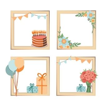 Ręcznie rysowane zestaw ramek kolaż urodziny