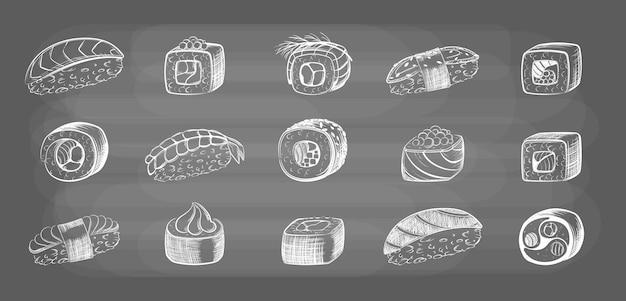 Ręcznie rysowane zestaw rolek sushi. naszkicuj japońskie owoce morza i kawałki świeżej ryby ryżowej zawinięte w pyszne sashimi z wodorostów z sosem sojowym i pyszną odmianą wasabi. wektor pyszny obiad.