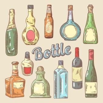 Ręcznie rysowane zestaw różnych butelek do napojów