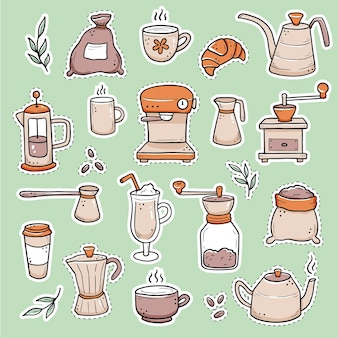 Ręcznie rysowane zestaw różnych naklejek z filiżanką, kubkiem, garnkiem, ekspresem do kawy. doodle styl szkicu.