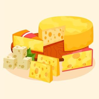 Ręcznie rysowane zestaw różnych rodzajów sera