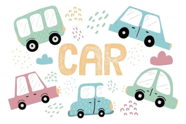 Ręcznie rysowane zestaw samochodów dla dzieci zestaw ładnych kolorowych samochodów