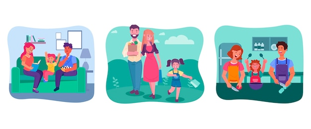 Ręcznie rysowane zestaw scen rodzinnych