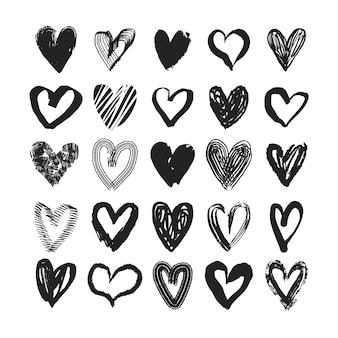 Ręcznie rysowane zestaw serca