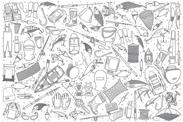 Ręcznie rysowane zestaw sklep wędkarski